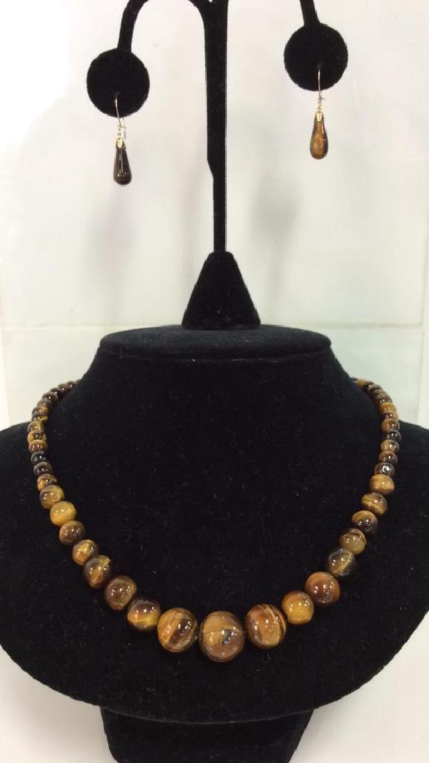 Set 2 Tigers Eye Jewelry Necklace W Earrings