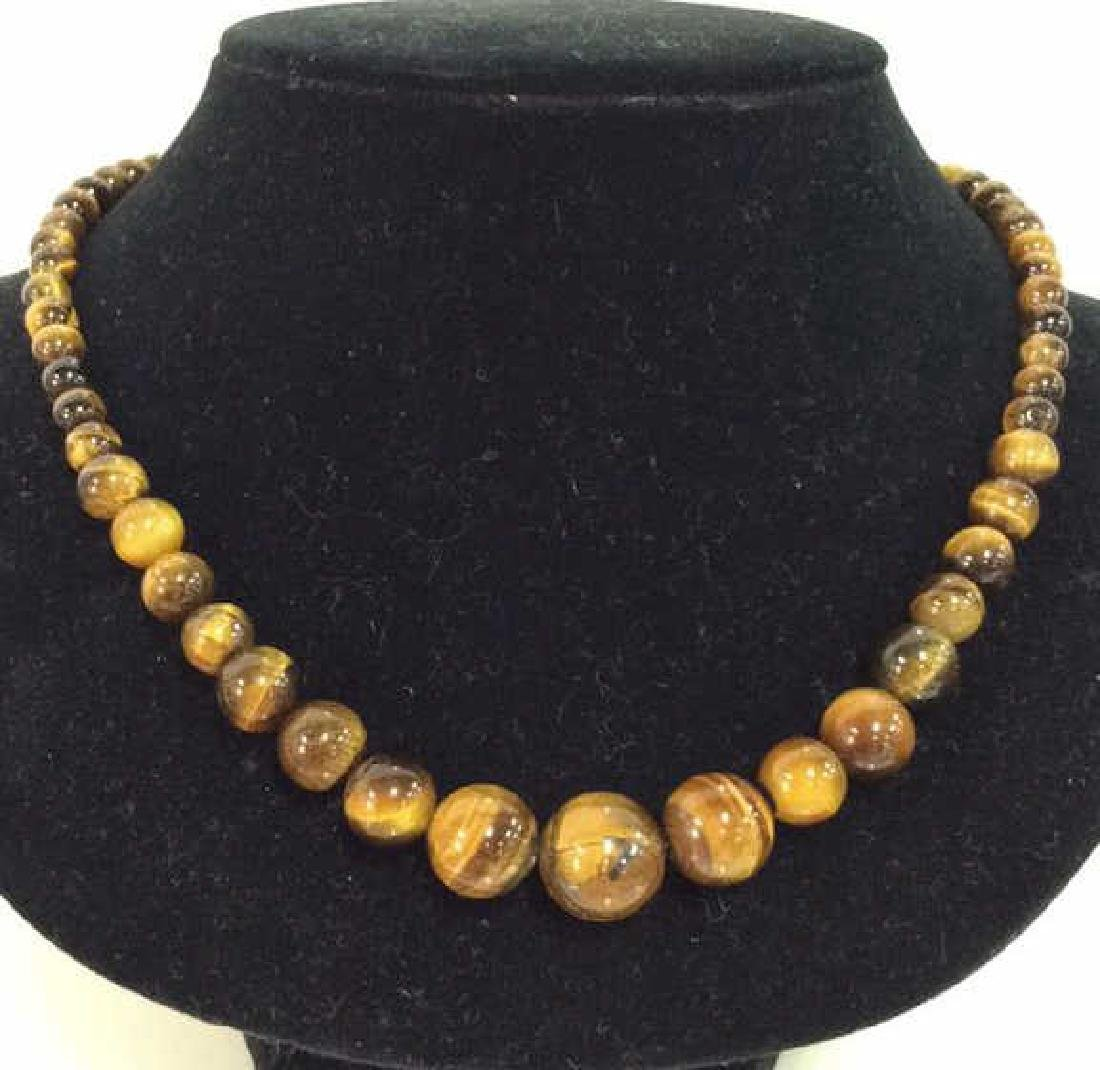 Set 2 Tigers Eye Jewelry Necklace W Earrings - 2
