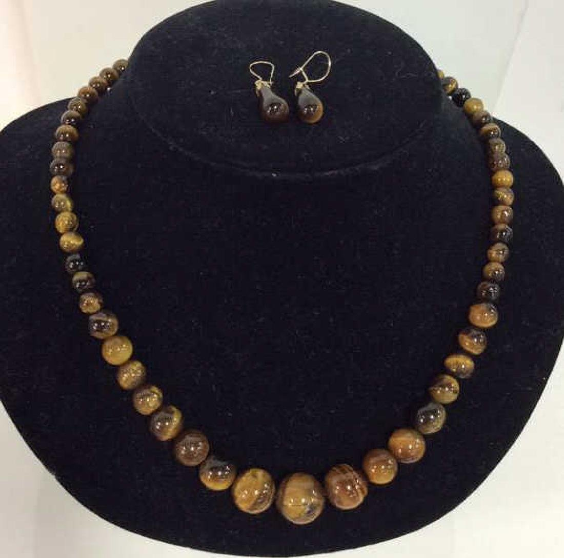 Set 2 Tigers Eye Jewelry Necklace W Earrings - 3