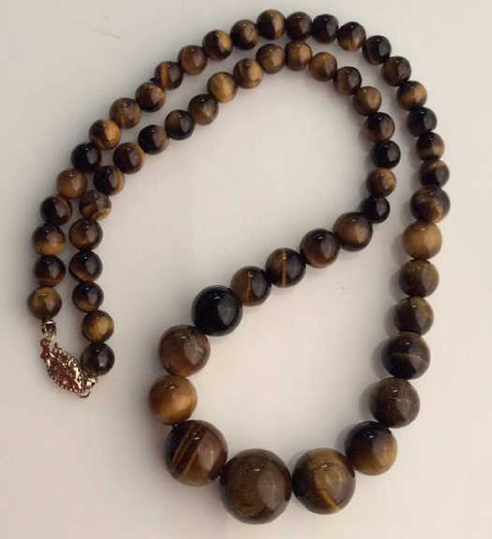 Set 2 Tigers Eye Jewelry Necklace W Earrings - 4