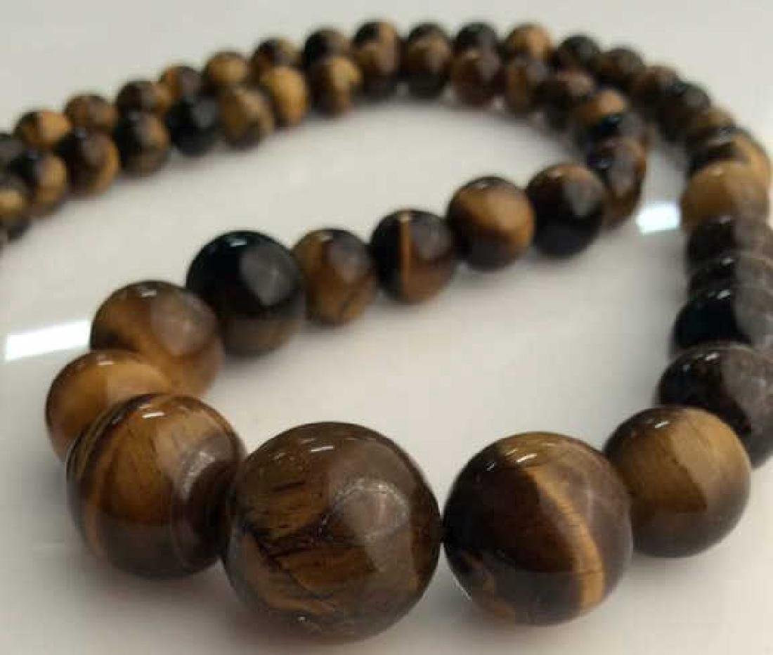 Set 2 Tigers Eye Jewelry Necklace W Earrings - 5