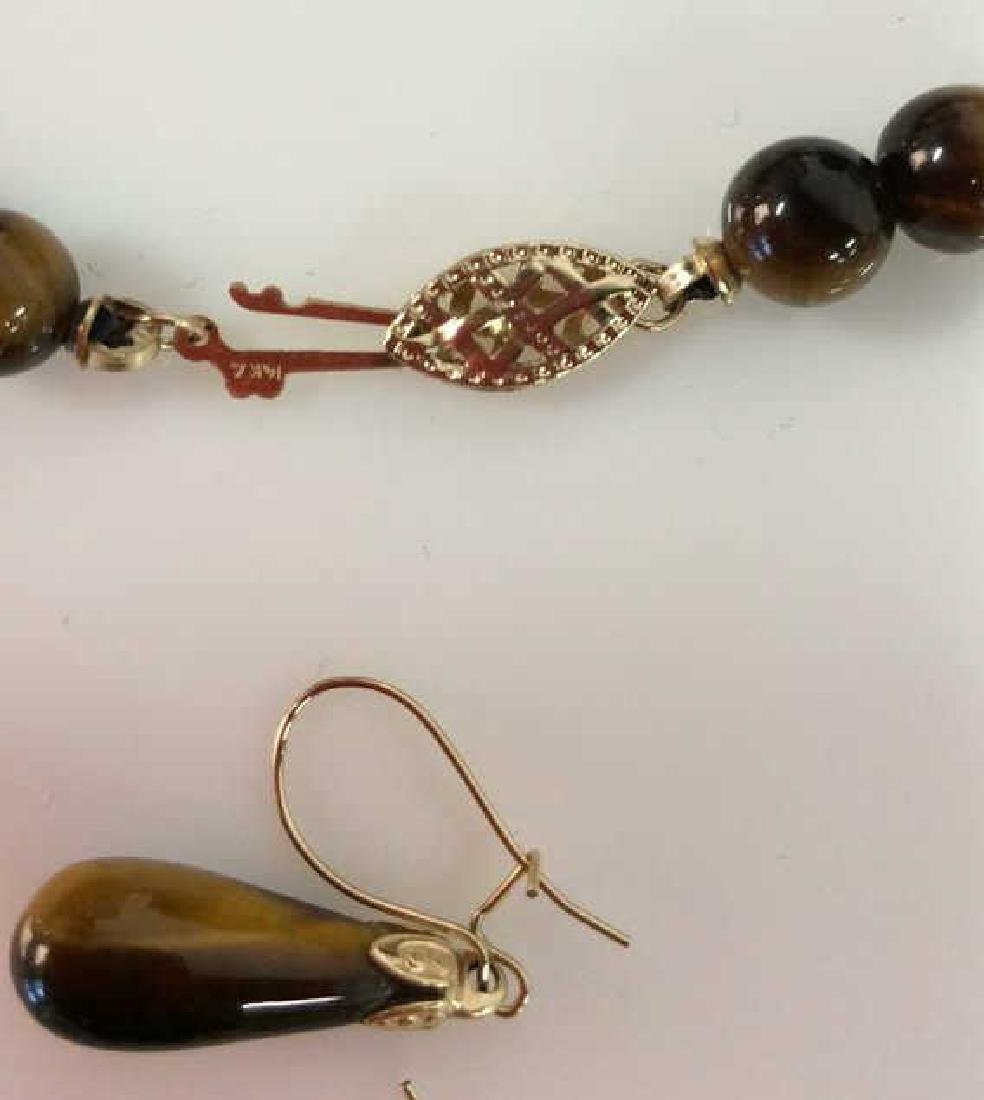 Set 2 Tigers Eye Jewelry Necklace W Earrings - 9