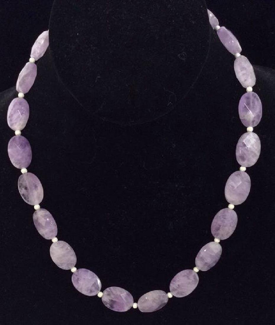 Amethyst Beaded Necklace W Sterling Silver Clasp