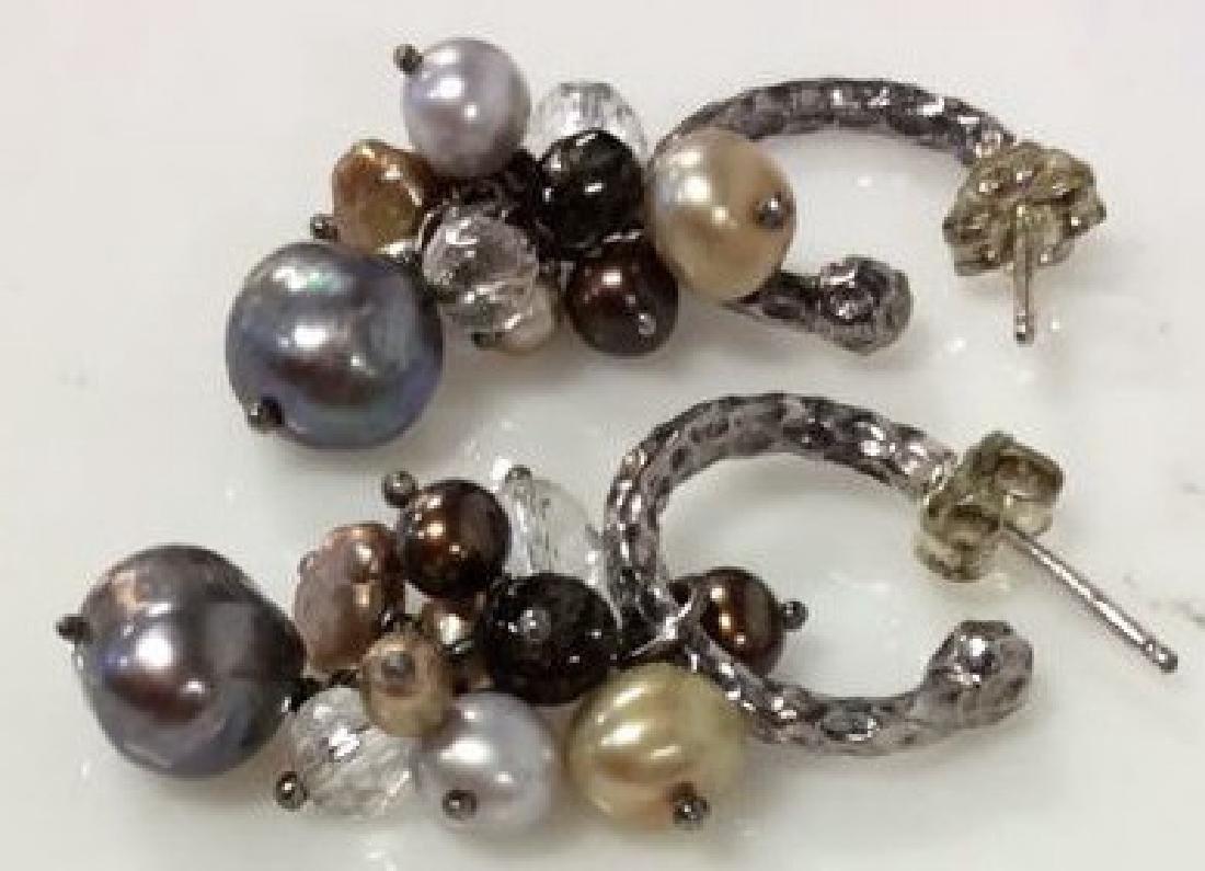 Sterling Silver Earrings W Pearl Cluster