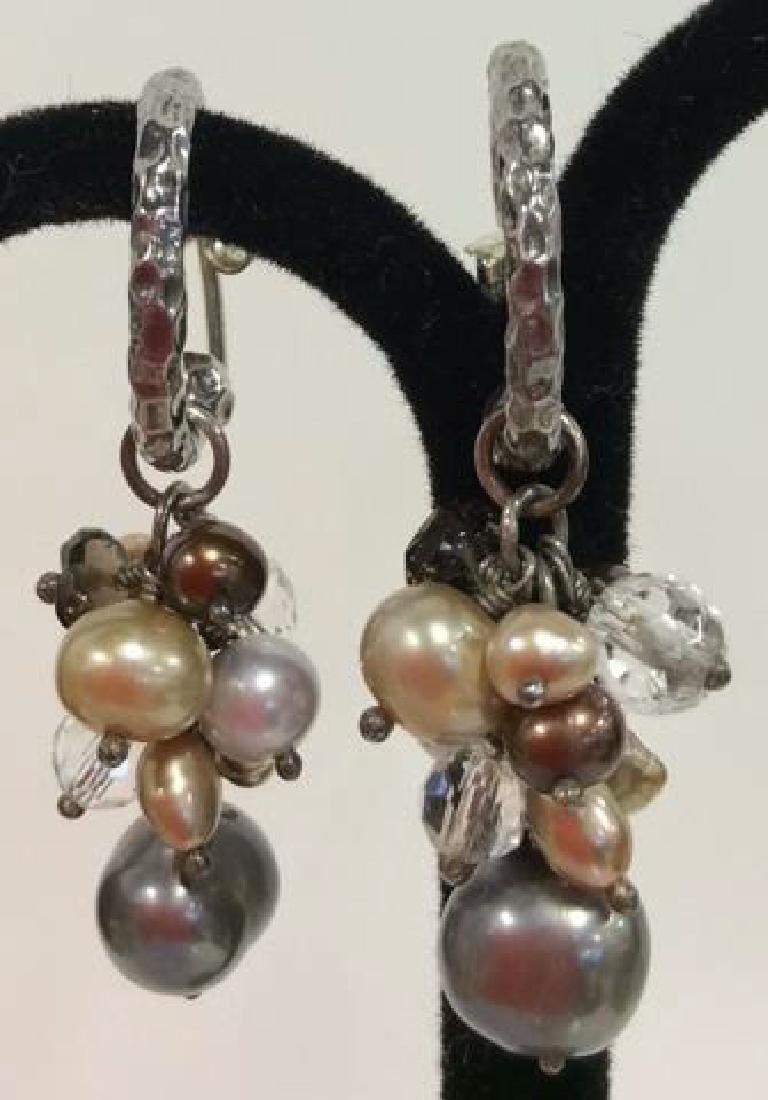 Sterling Silver Earrings W Pearl Cluster - 2