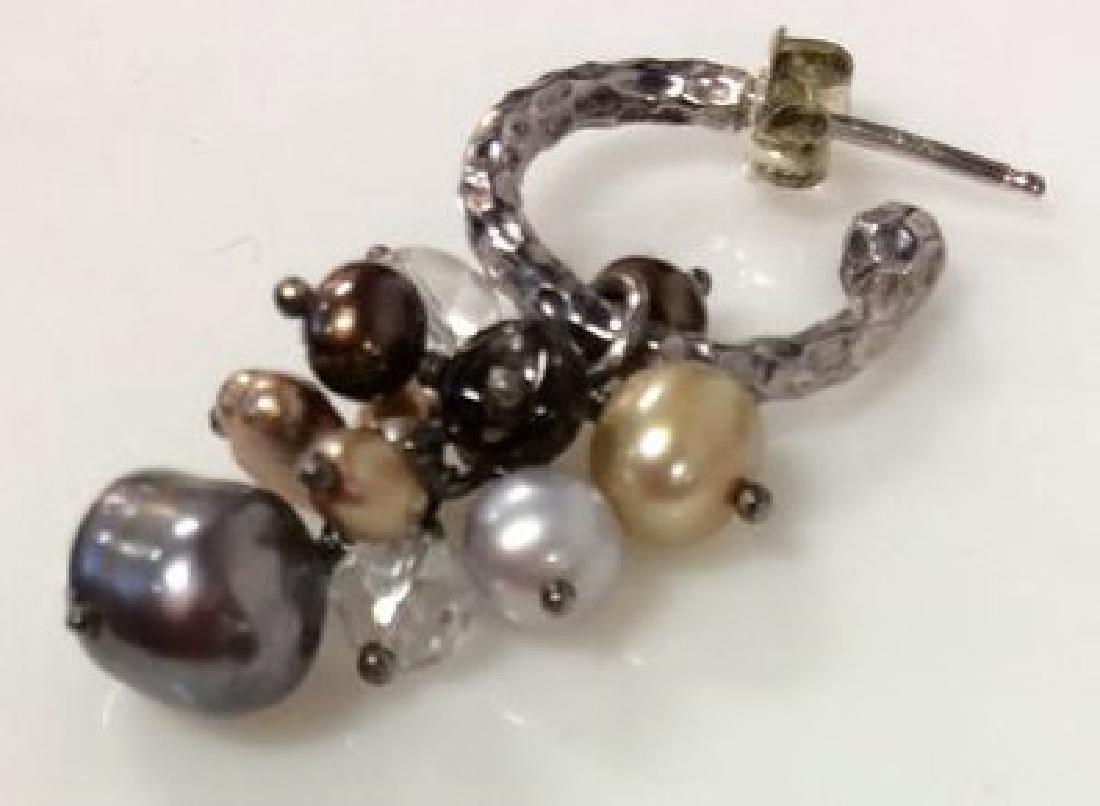 Sterling Silver Earrings W Pearl Cluster - 3
