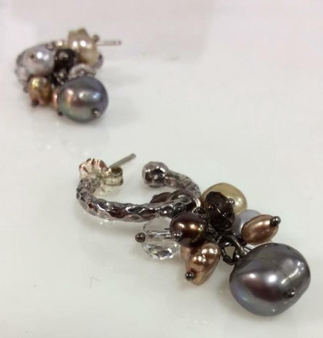 Sterling Silver Earrings W Pearl Cluster - 4
