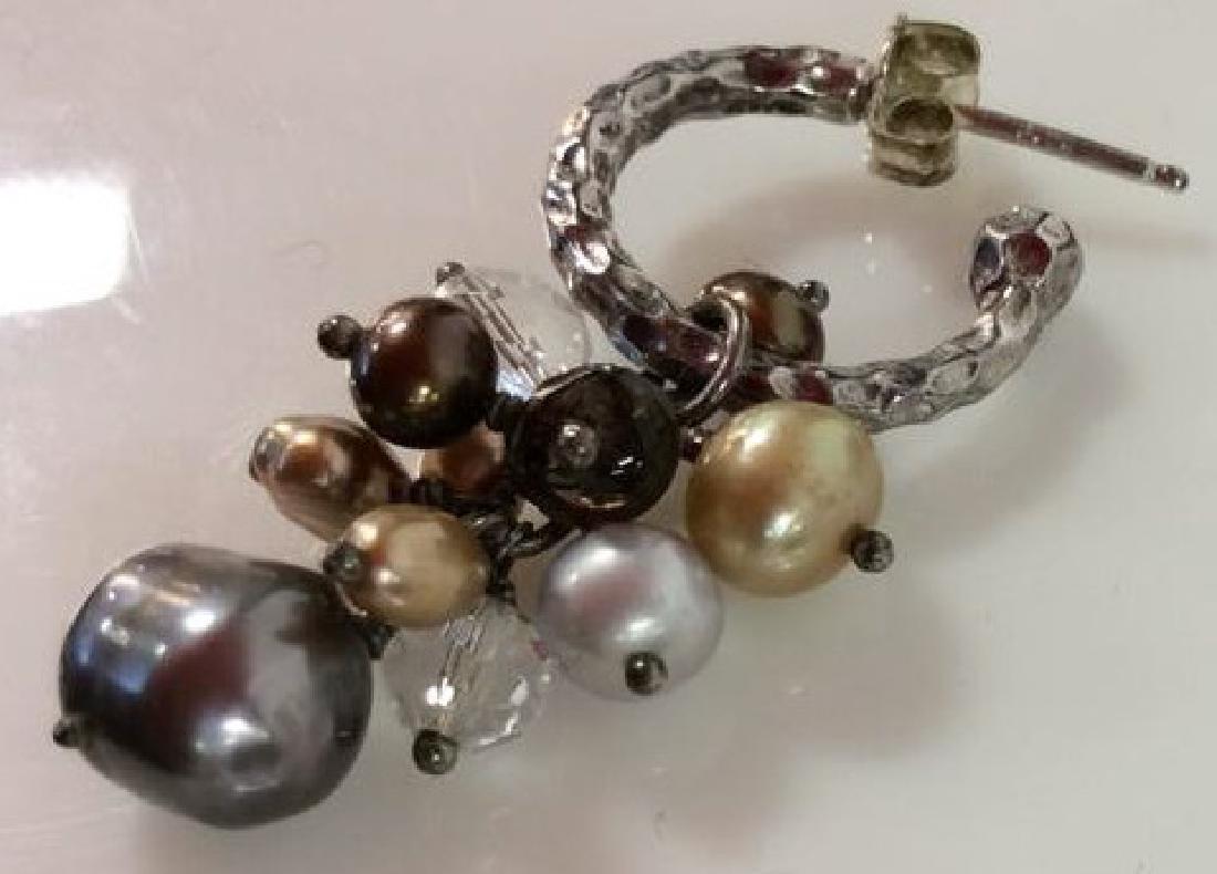 Sterling Silver Earrings W Pearl Cluster - 5