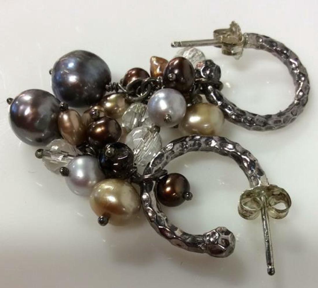 Sterling Silver Earrings W Pearl Cluster - 6