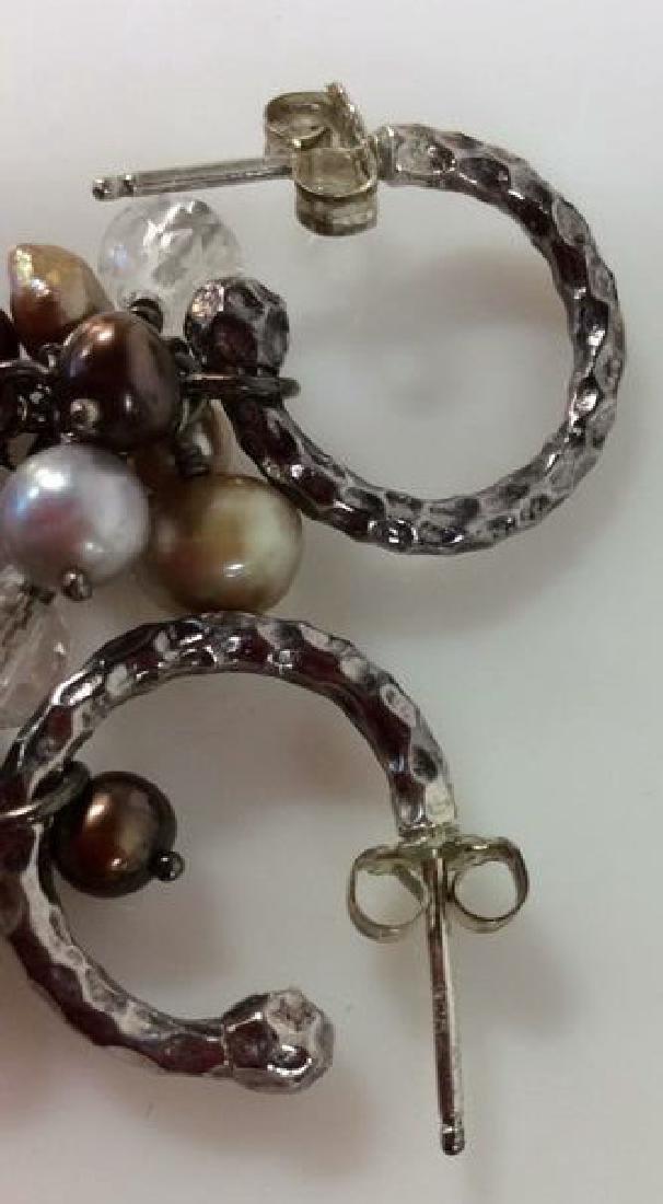 Sterling Silver Earrings W Pearl Cluster - 7