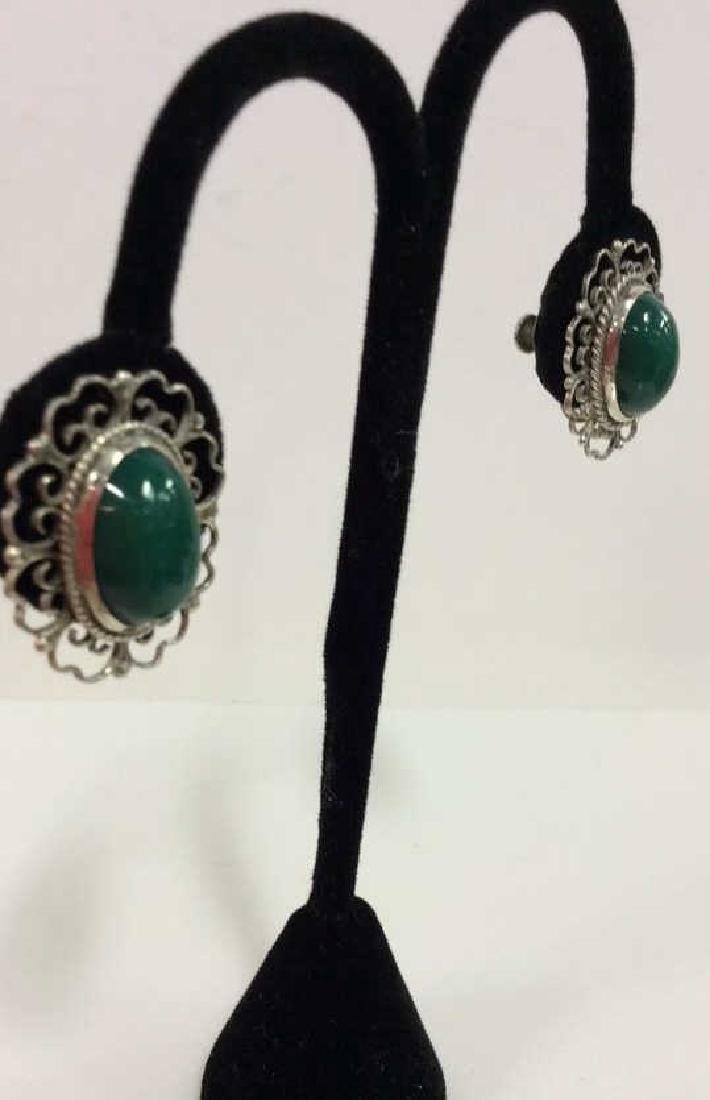 Set 2 Sterling W Natural Stone Earrings W Pin - 2