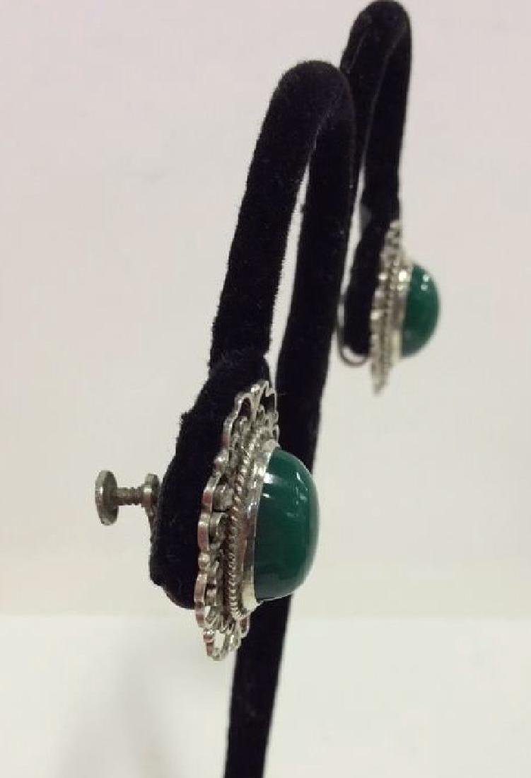 Set 2 Sterling W Natural Stone Earrings W Pin - 3