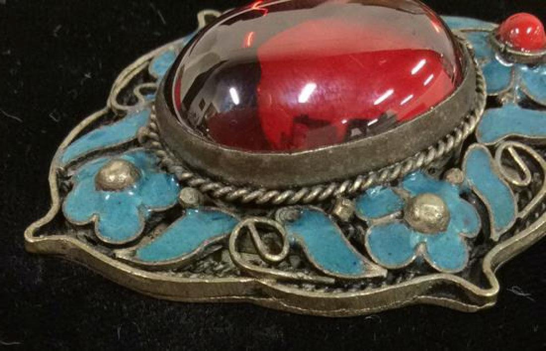 Silver Toned Metal W Enamel & Glass Pendant