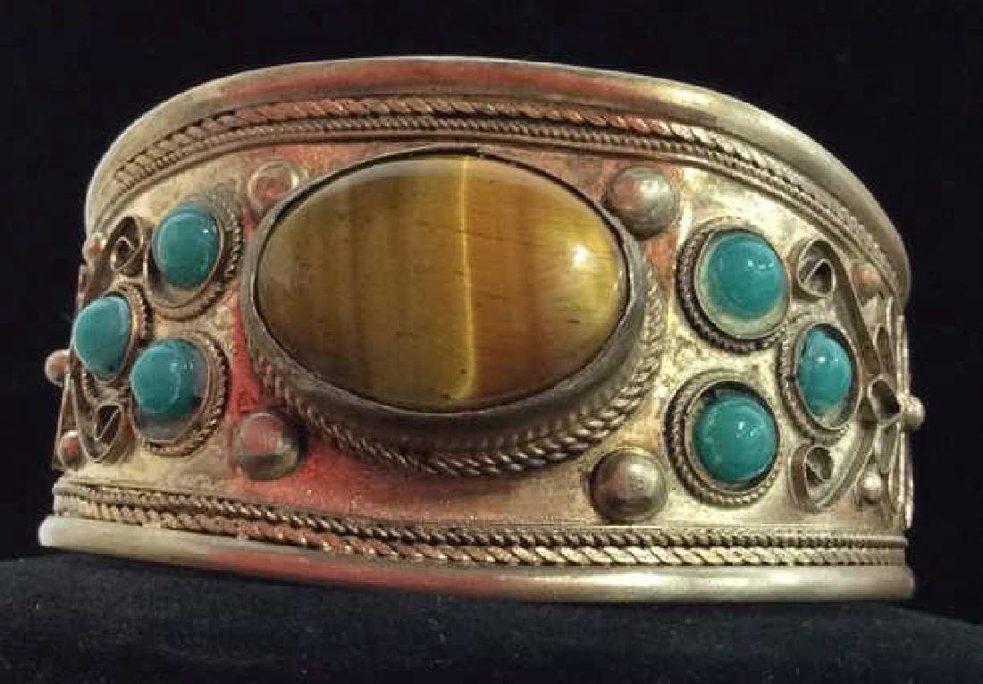 Silver Metal Cuff Bracelet W Natural Stones