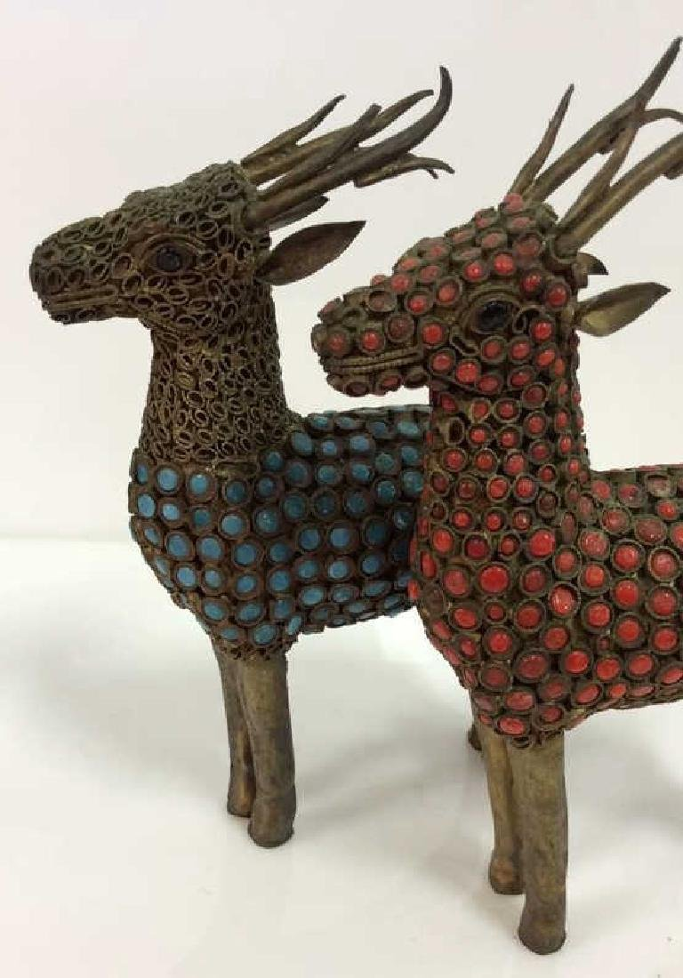 Pair Reindeer Brass and Set Stone Figurines - 10