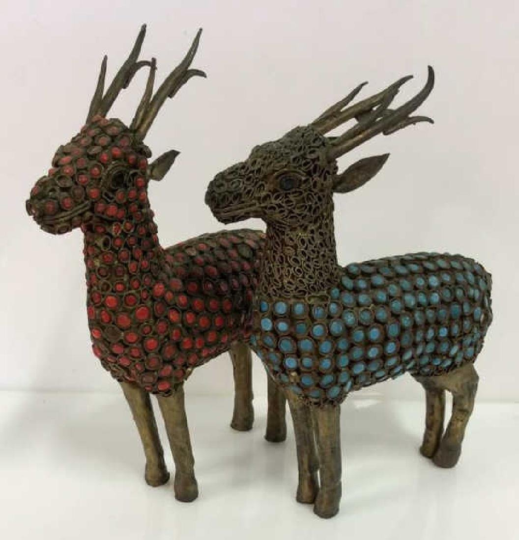 Pair Reindeer Brass and Set Stone Figurines
