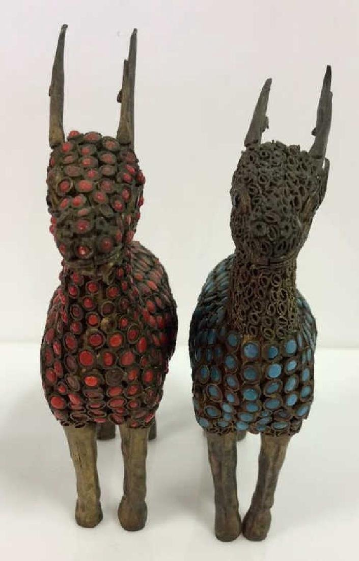 Pair Reindeer Brass and Set Stone Figurines - 2