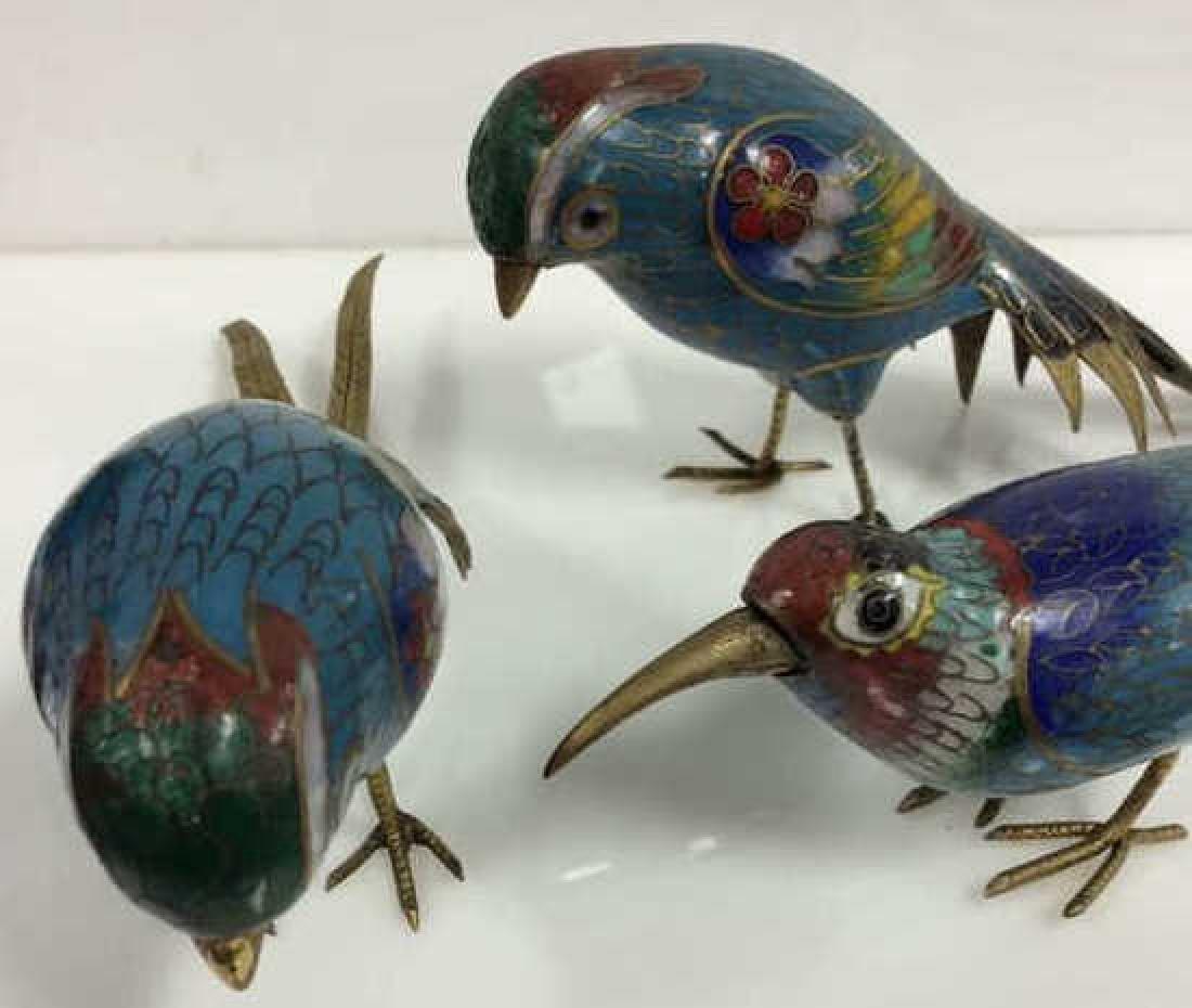 Lot 3 Enamel Cloisonné Birds