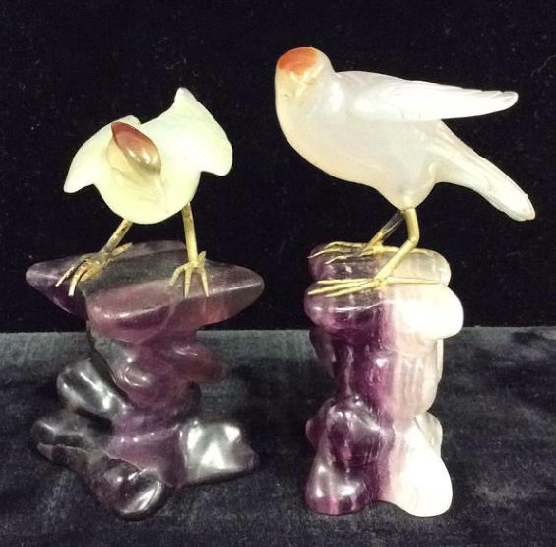 Pair Natural Stone Bird Figurals W Pedestals