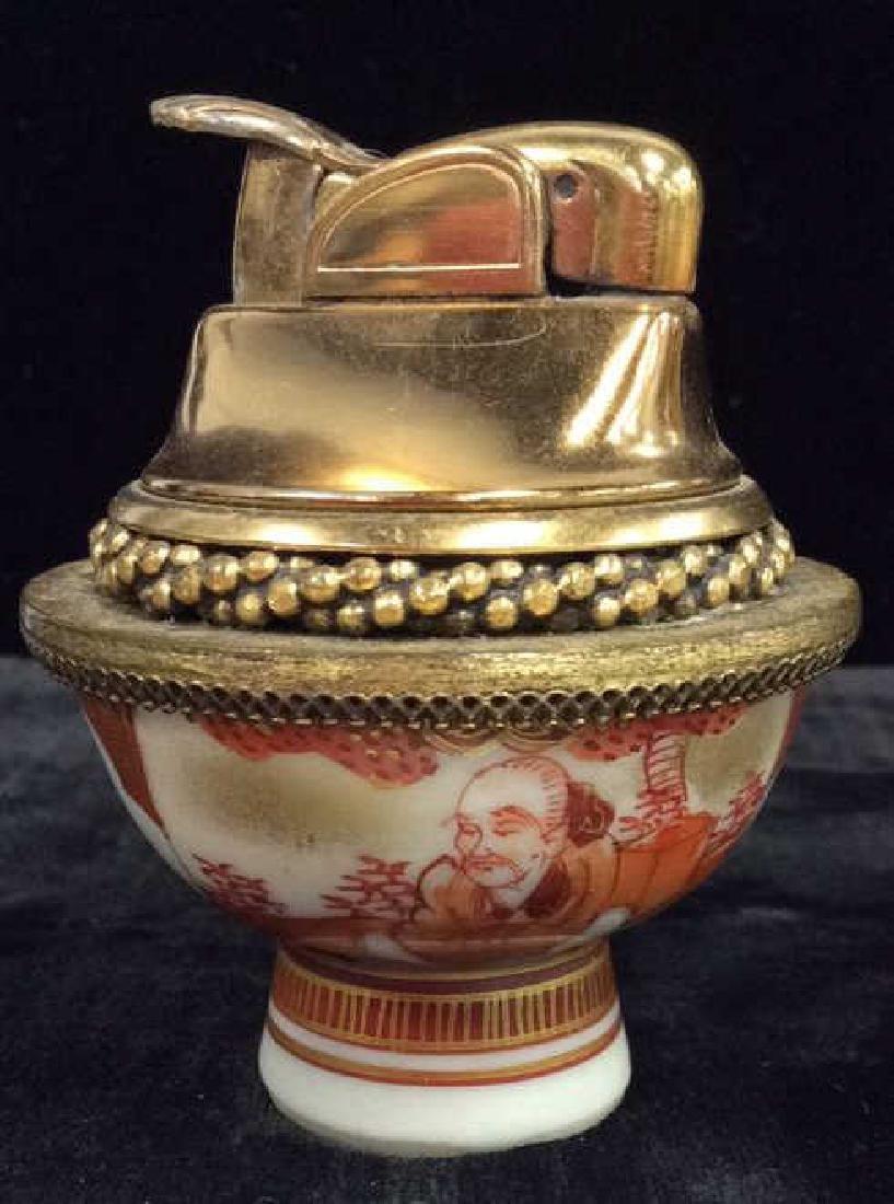 Pair EVANS Vintage Brass Lighters W Porcelain - 2