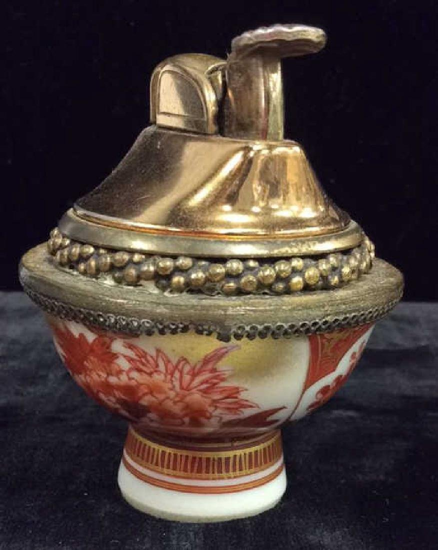 Pair EVANS Vintage Brass Lighters W Porcelain - 4