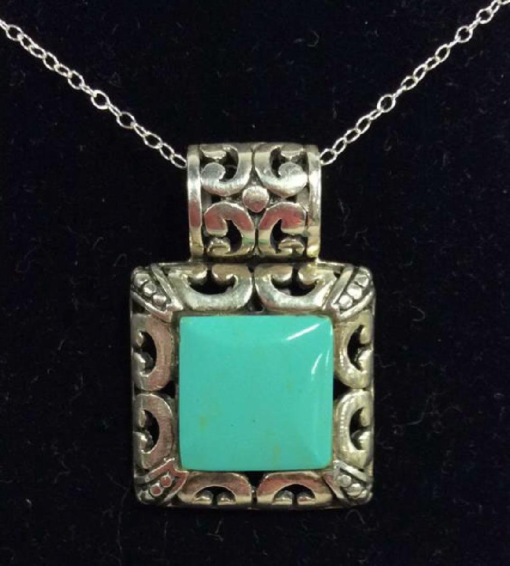 Set 2 Sterling W Turquoise Necklace&Earrings