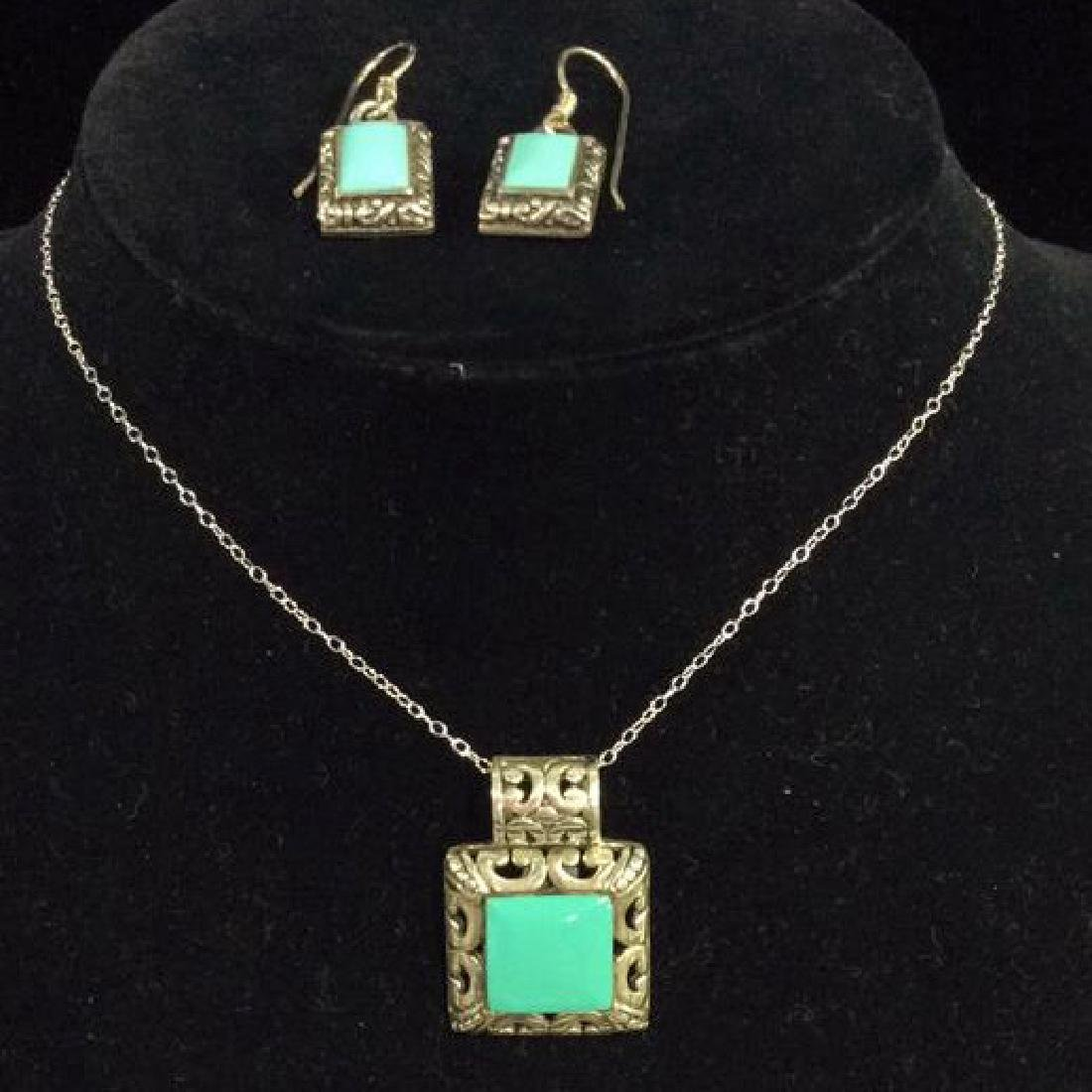 Set 2 Sterling W Turquoise Necklace&Earrings - 2