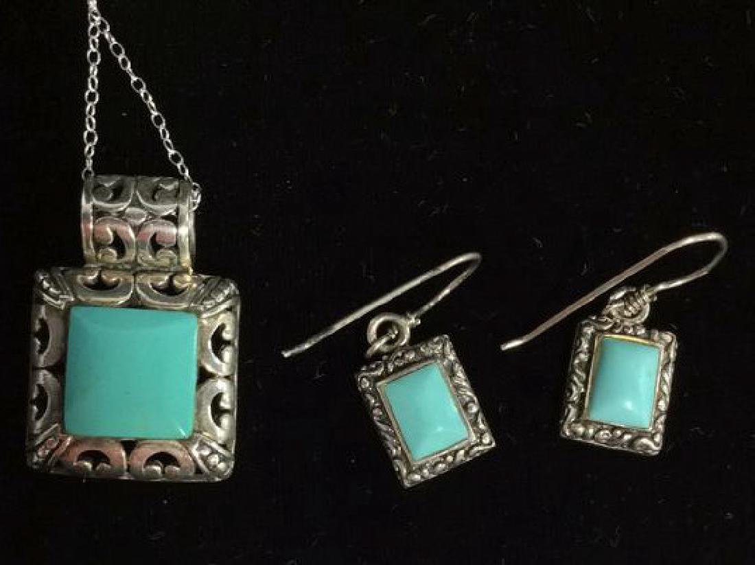 Set 2 Sterling W Turquoise Necklace&Earrings - 4