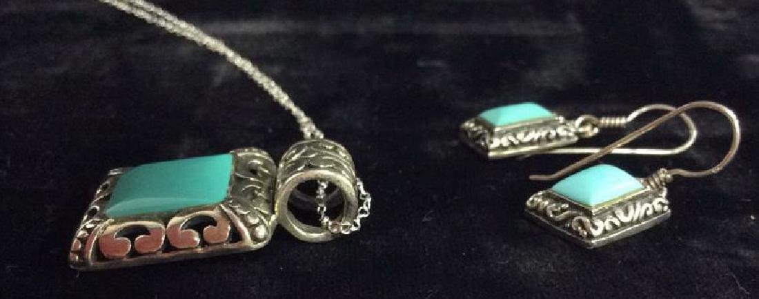 Set 2 Sterling W Turquoise Necklace&Earrings - 6
