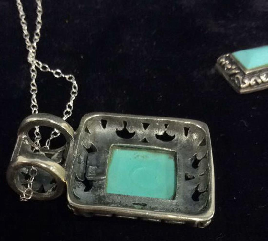 Set 2 Sterling W Turquoise Necklace&Earrings - 7