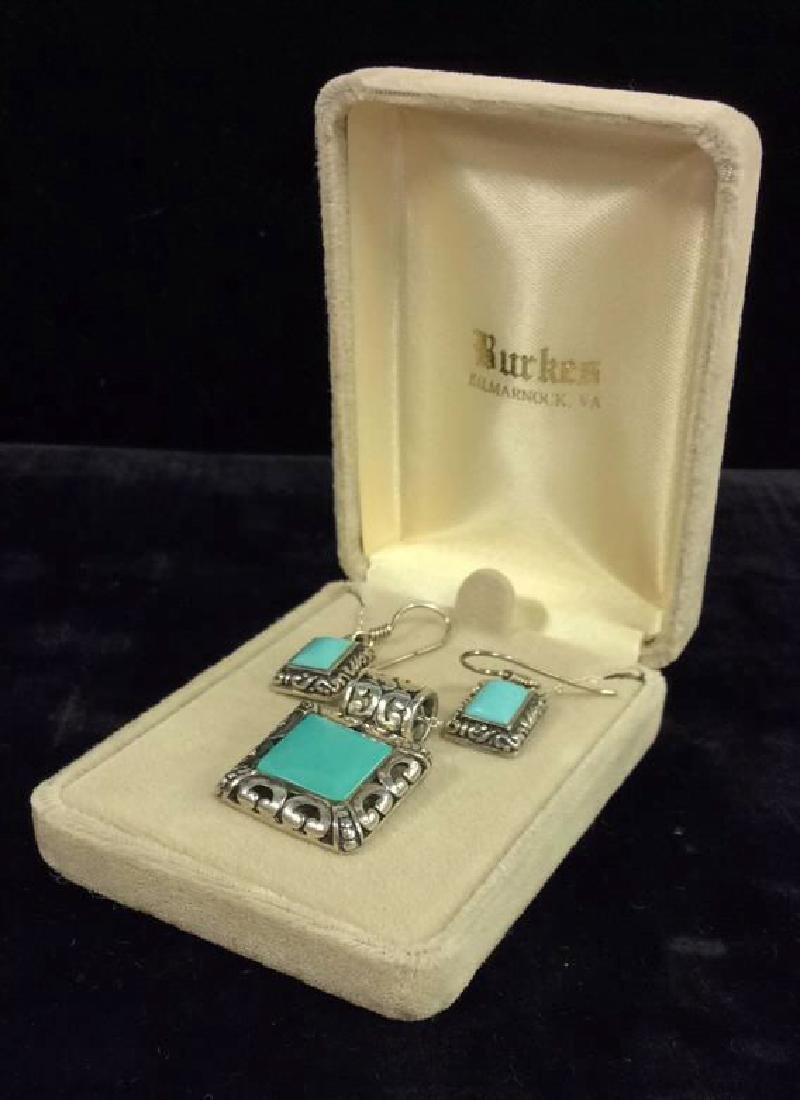 Set 2 Sterling W Turquoise Necklace&Earrings - 8