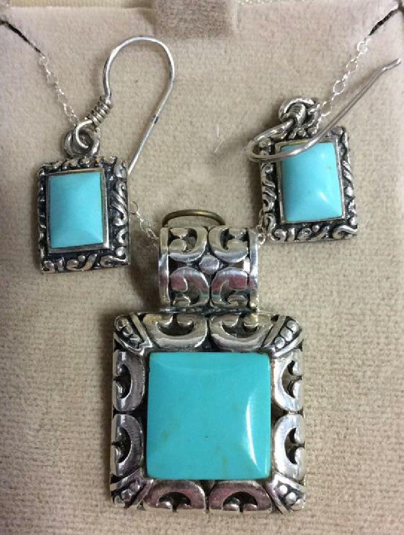 Set 2 Sterling W Turquoise Necklace&Earrings - 9