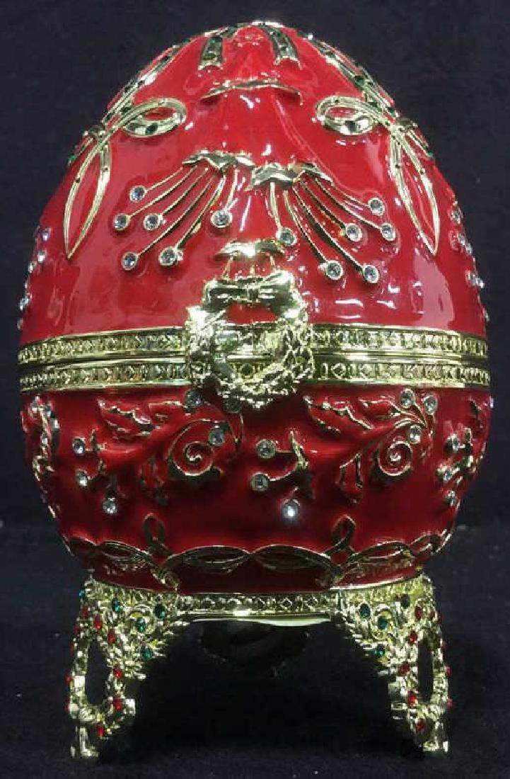 SANKYO Red Enamel Egg Form Music Box