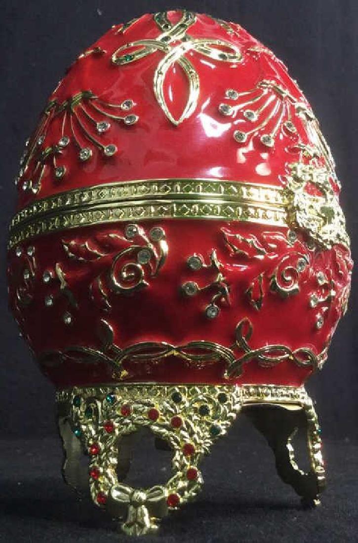 SANKYO Red Enamel Egg Form Music Box - 2