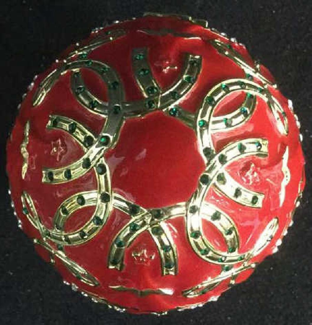 SANKYO Red Enamel Egg Form Music Box - 3