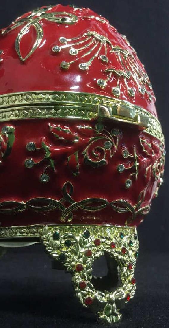 SANKYO Red Enamel Egg Form Music Box - 4