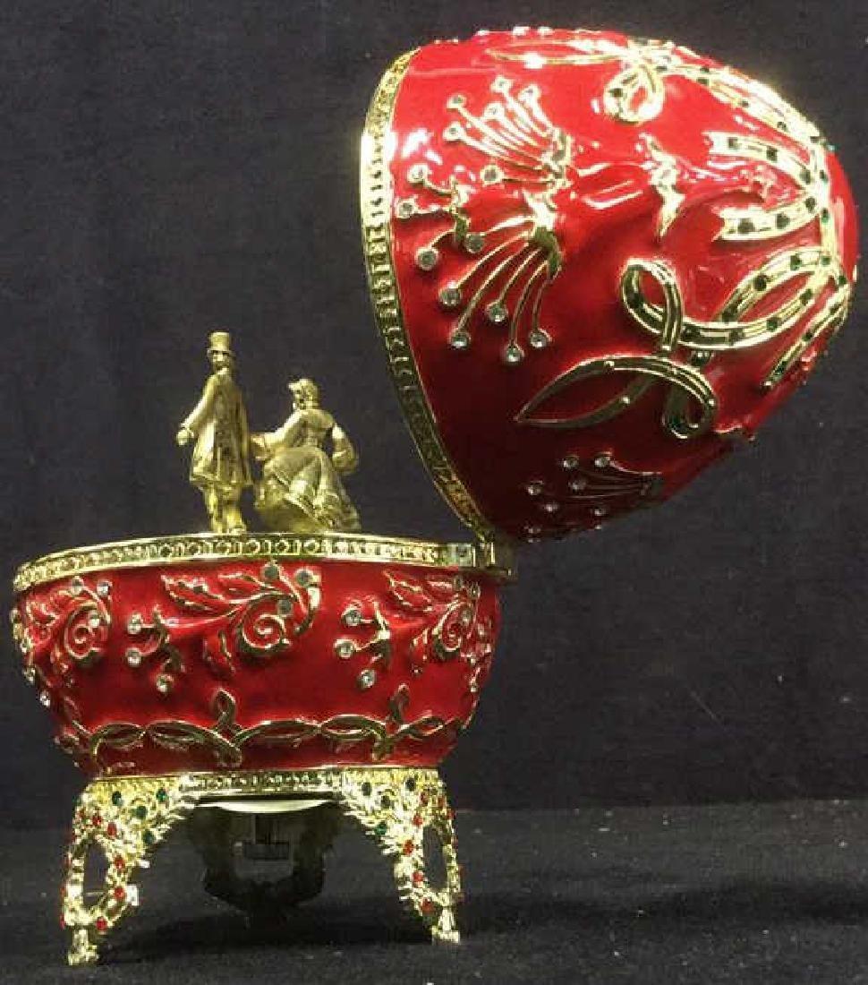 SANKYO Red Enamel Egg Form Music Box - 6
