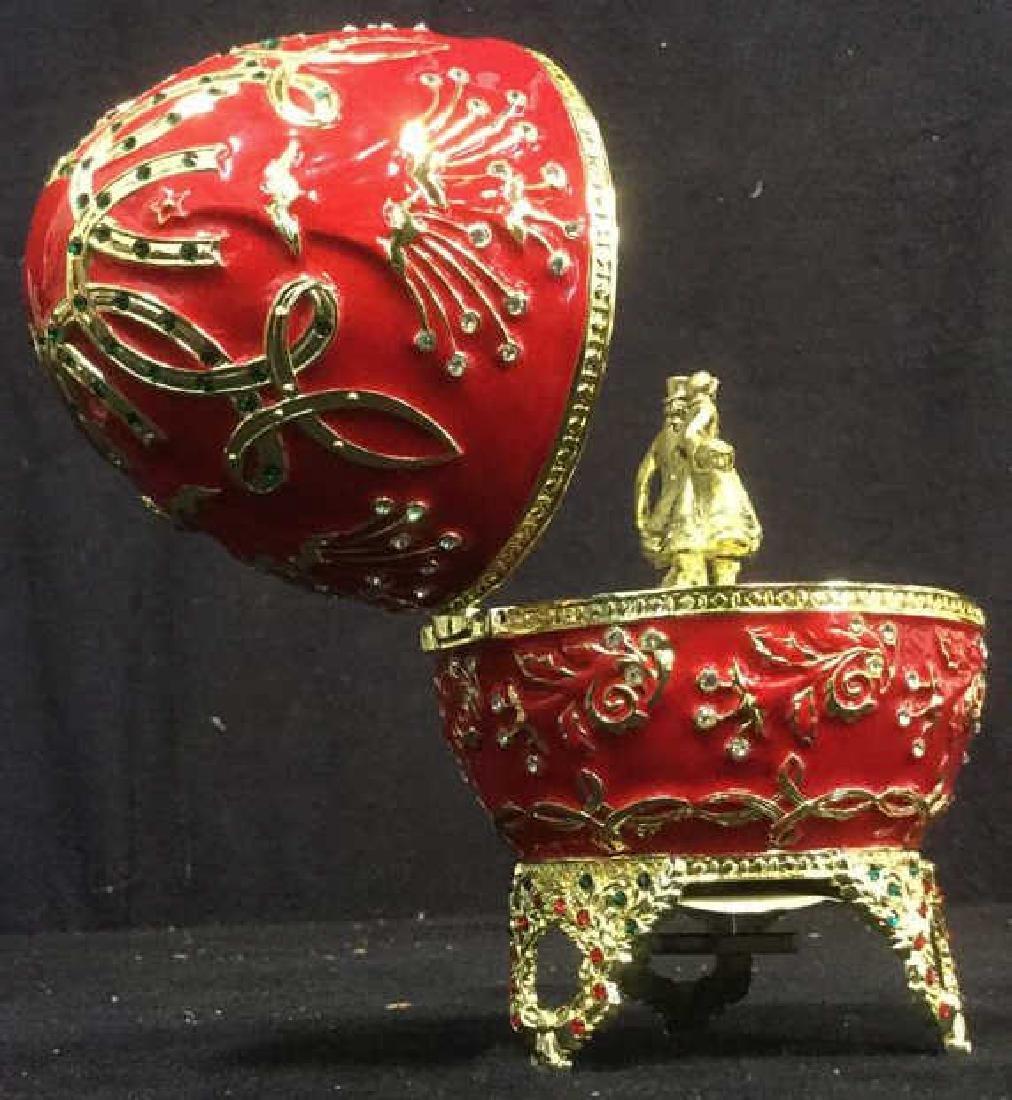 SANKYO Red Enamel Egg Form Music Box - 7