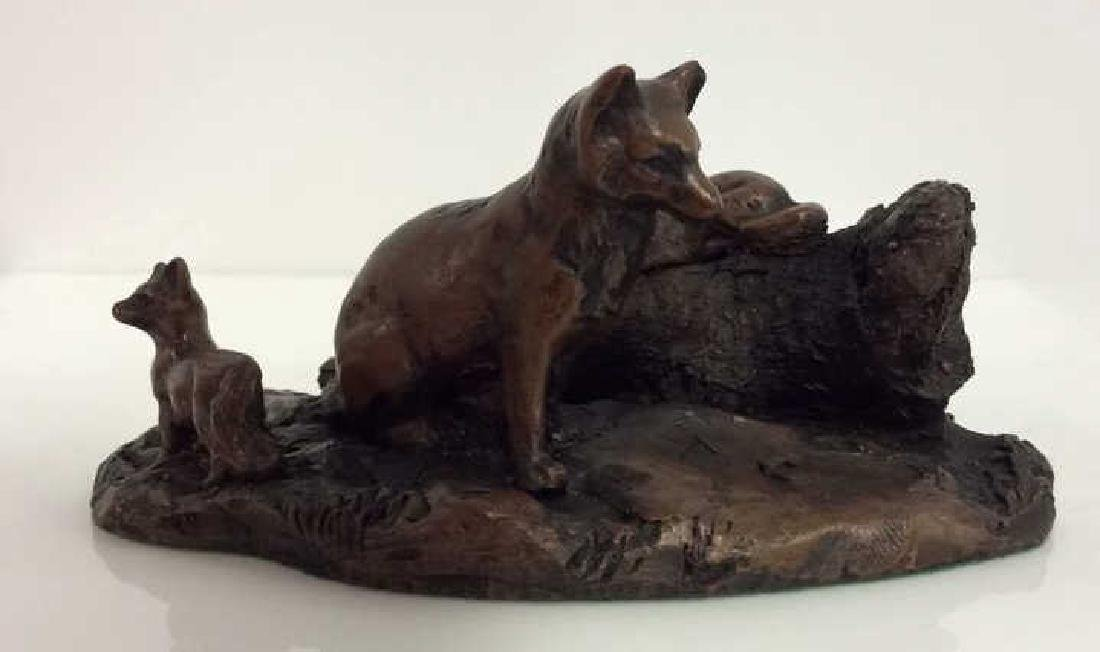 HOUSE OF GOEBEL Fox w Kits Figurine