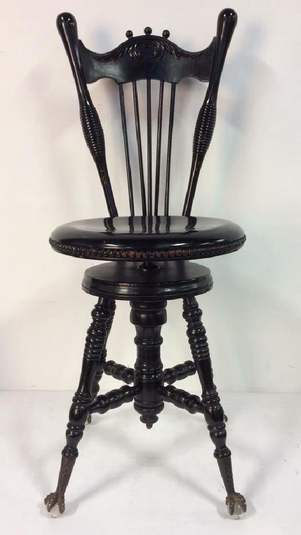 Antique Wooden Gothic Style Piano Chair - 3