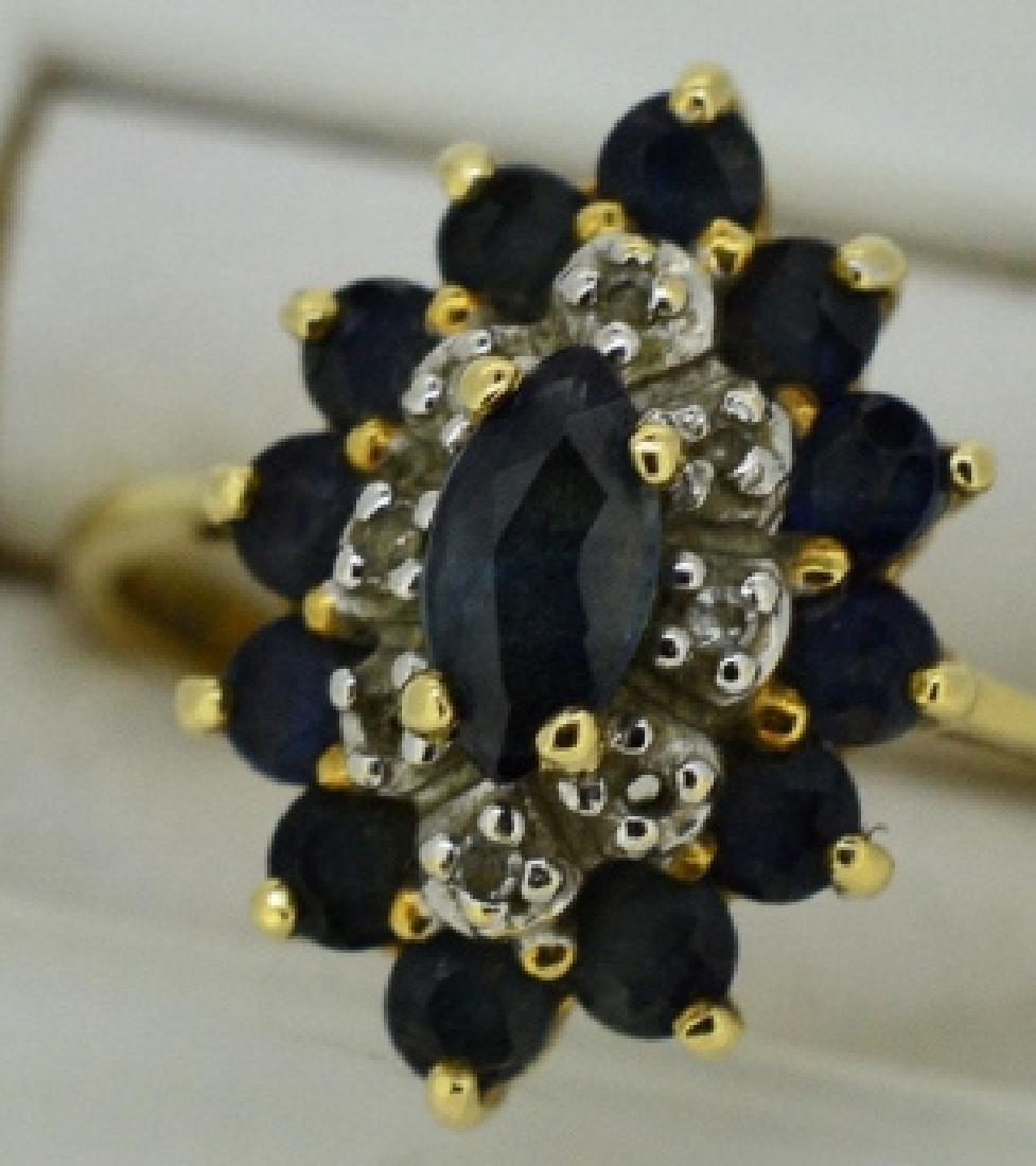 Ladies Sapphire,Diamond & 14k Yellow Gold Ring