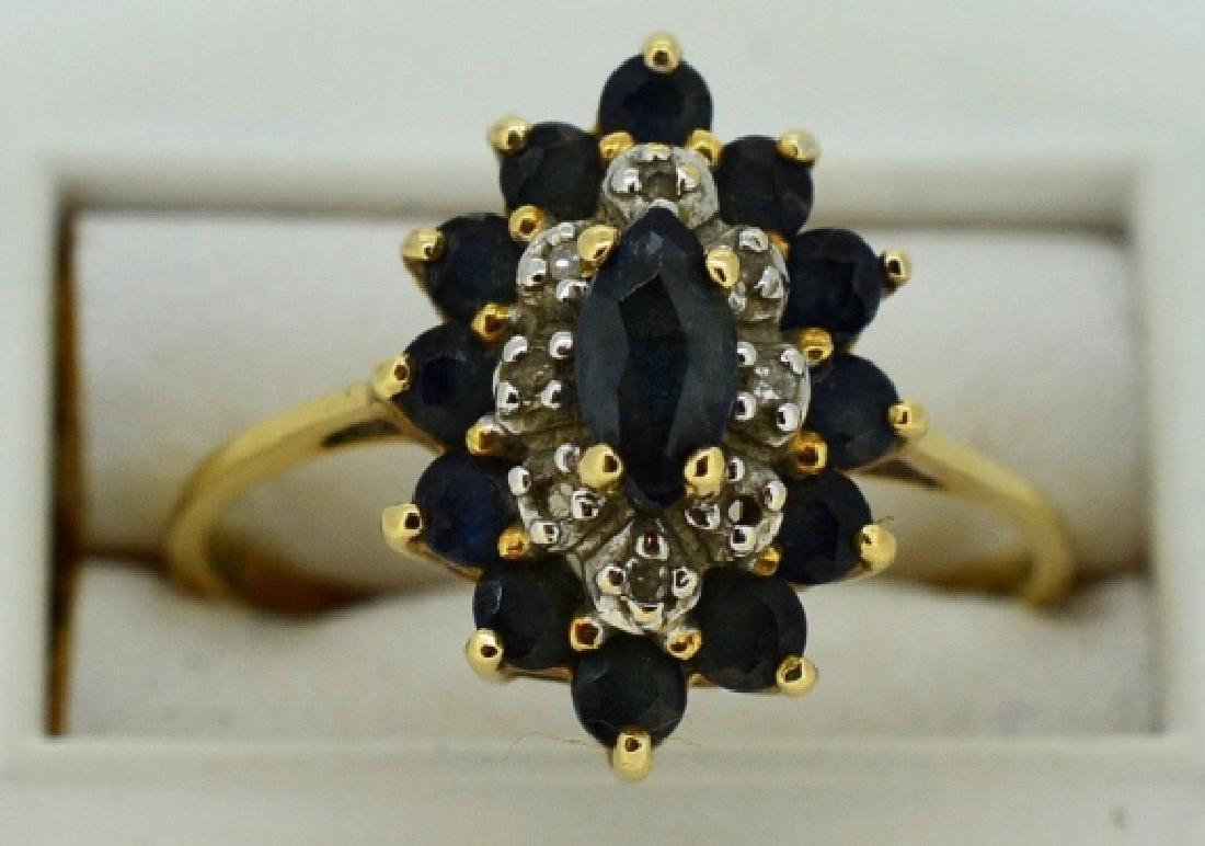 Ladies Sapphire,Diamond & 14k Yellow Gold Ring - 2