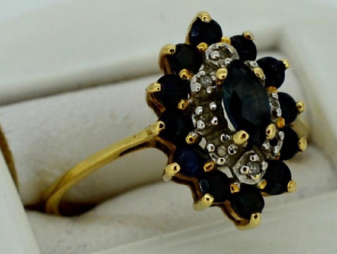 Ladies Sapphire,Diamond & 14k Yellow Gold Ring - 3