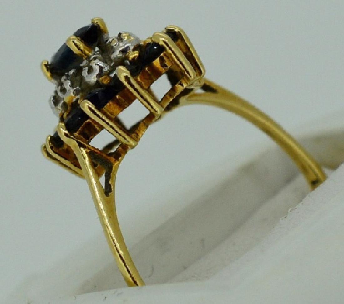 Ladies Sapphire,Diamond & 14k Yellow Gold Ring - 4