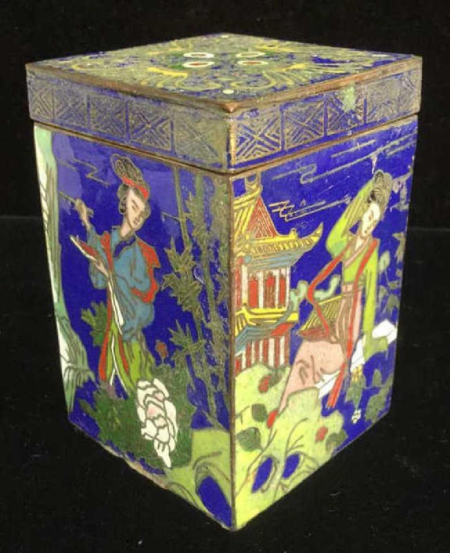 Vintage Asian Cloisonne Trinket Box With Lid