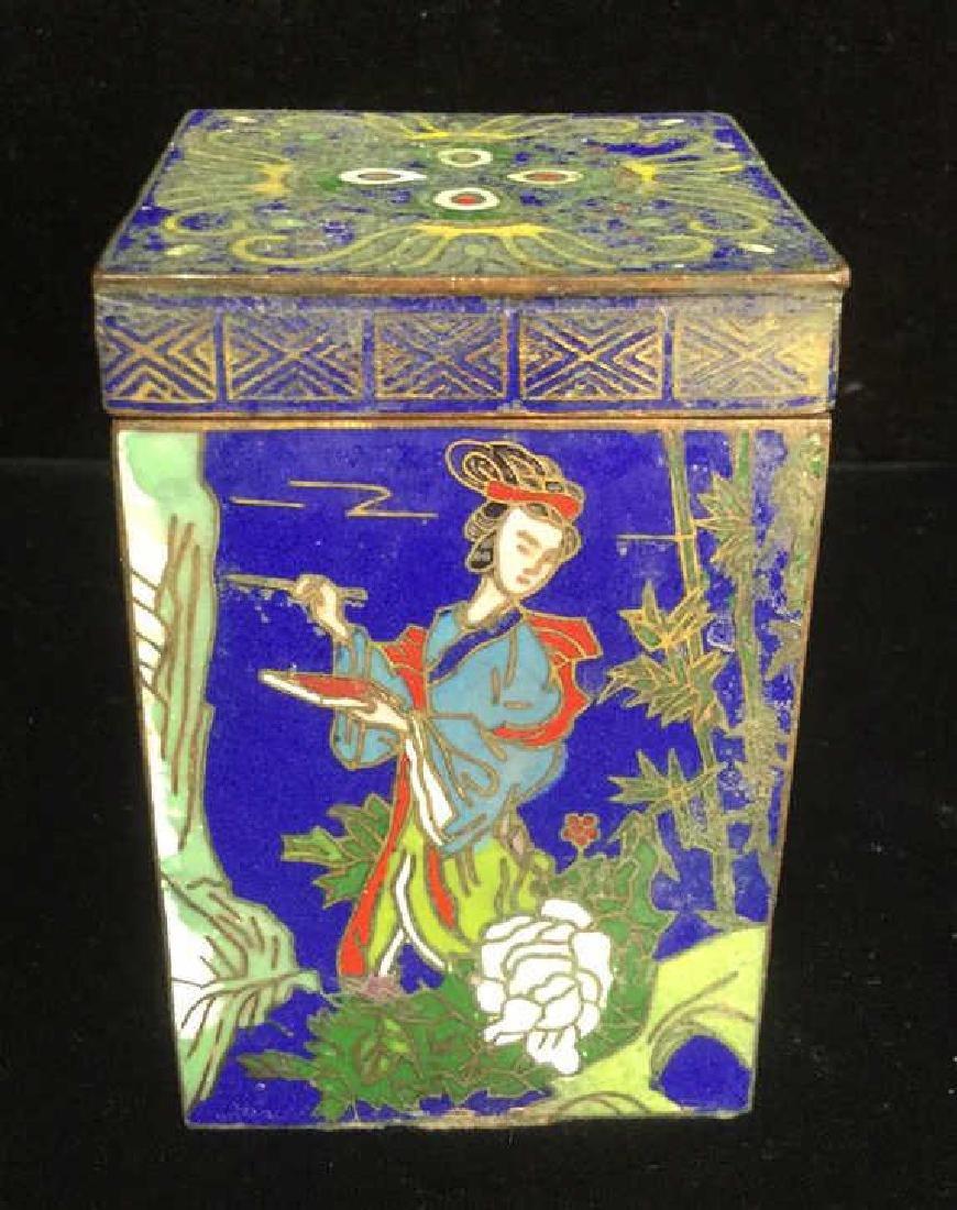 Vintage Asian Cloisonne Trinket Box With Lid - 2