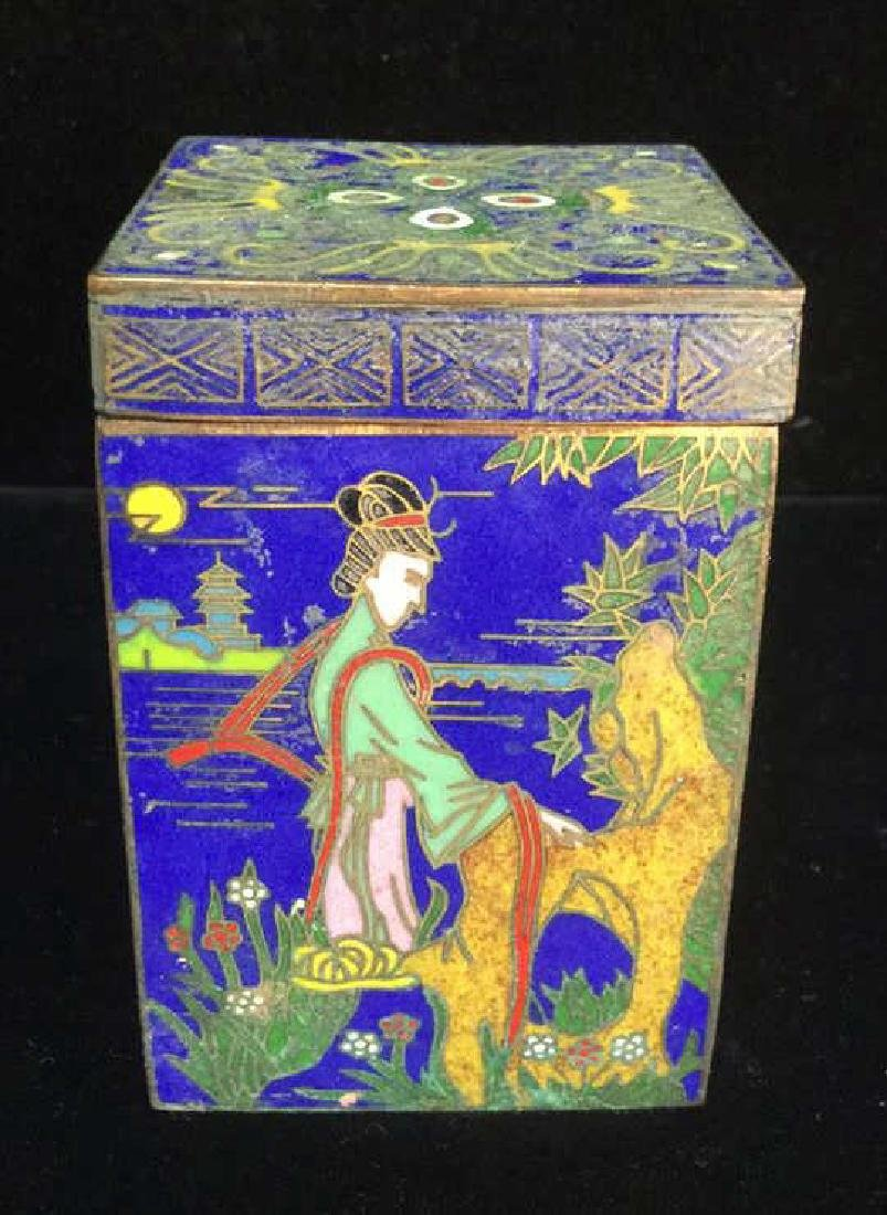 Vintage Asian Cloisonne Trinket Box With Lid - 3