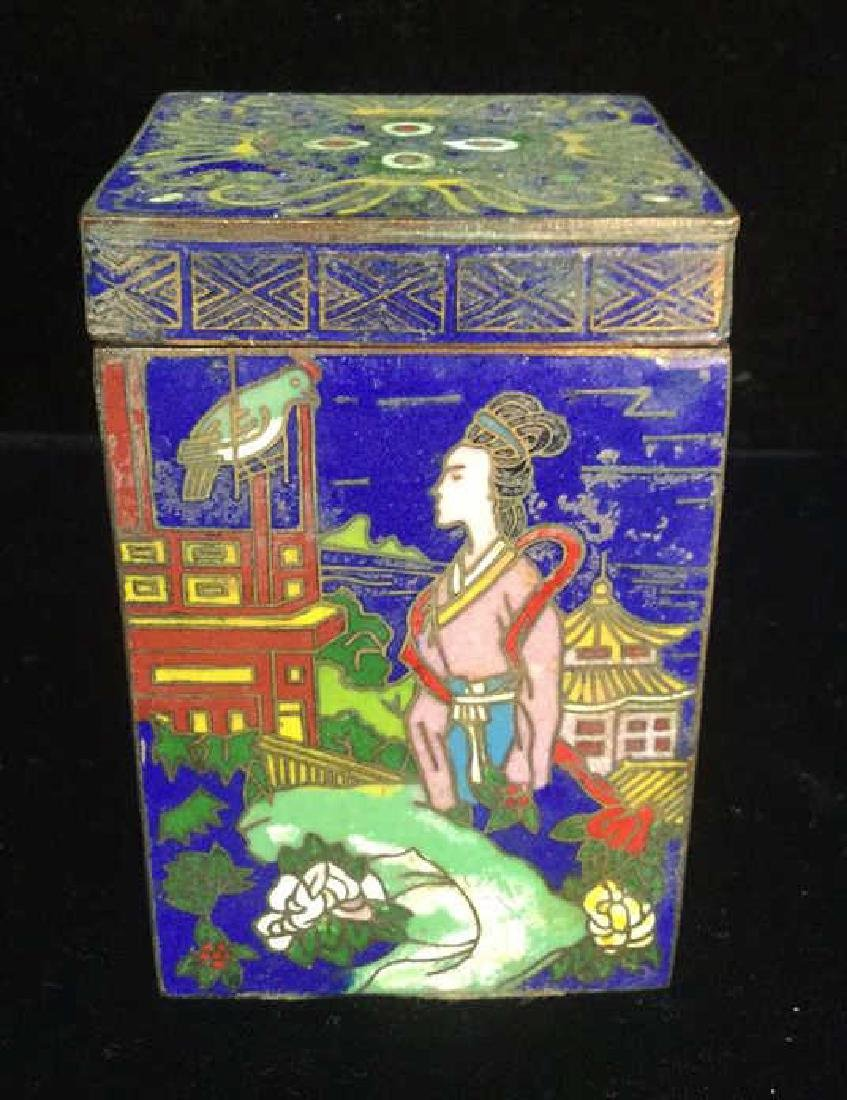 Vintage Asian Cloisonne Trinket Box With Lid - 4