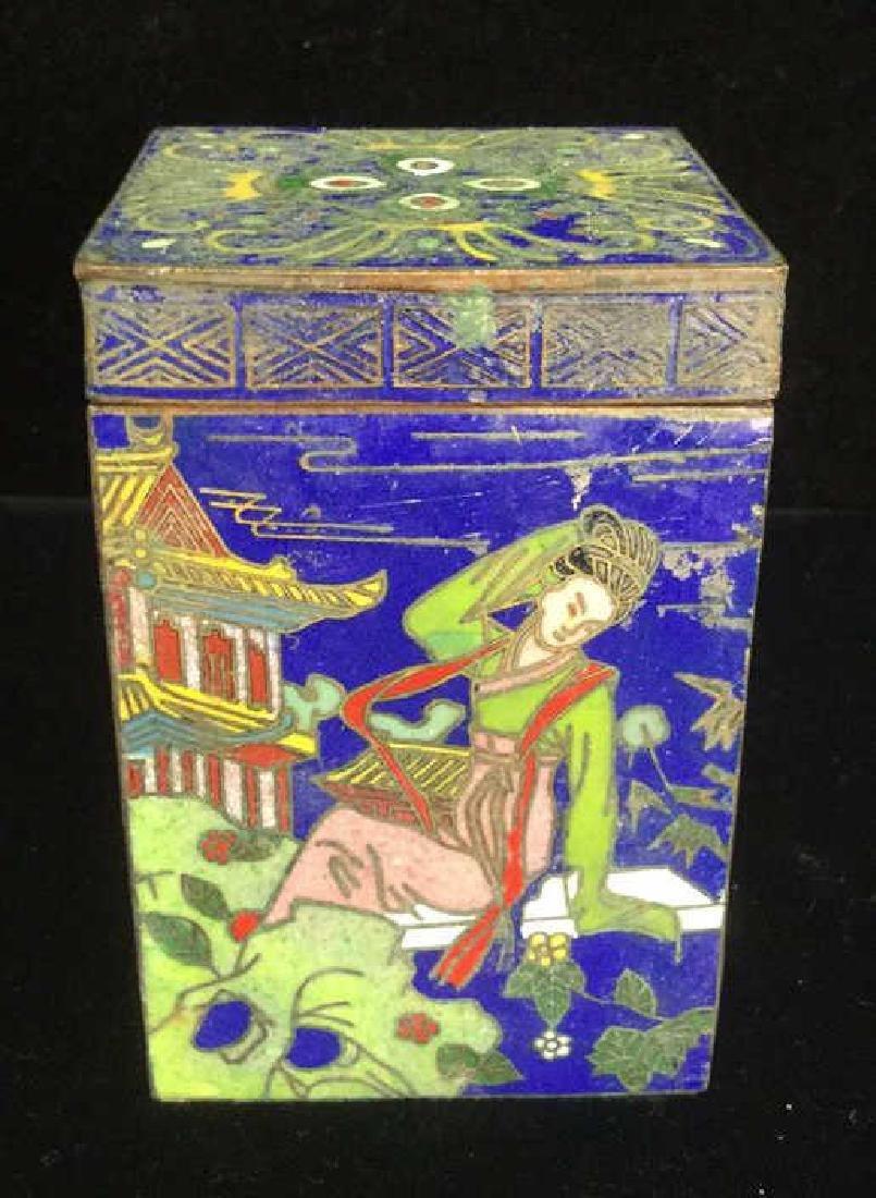 Vintage Asian Cloisonne Trinket Box With Lid - 5