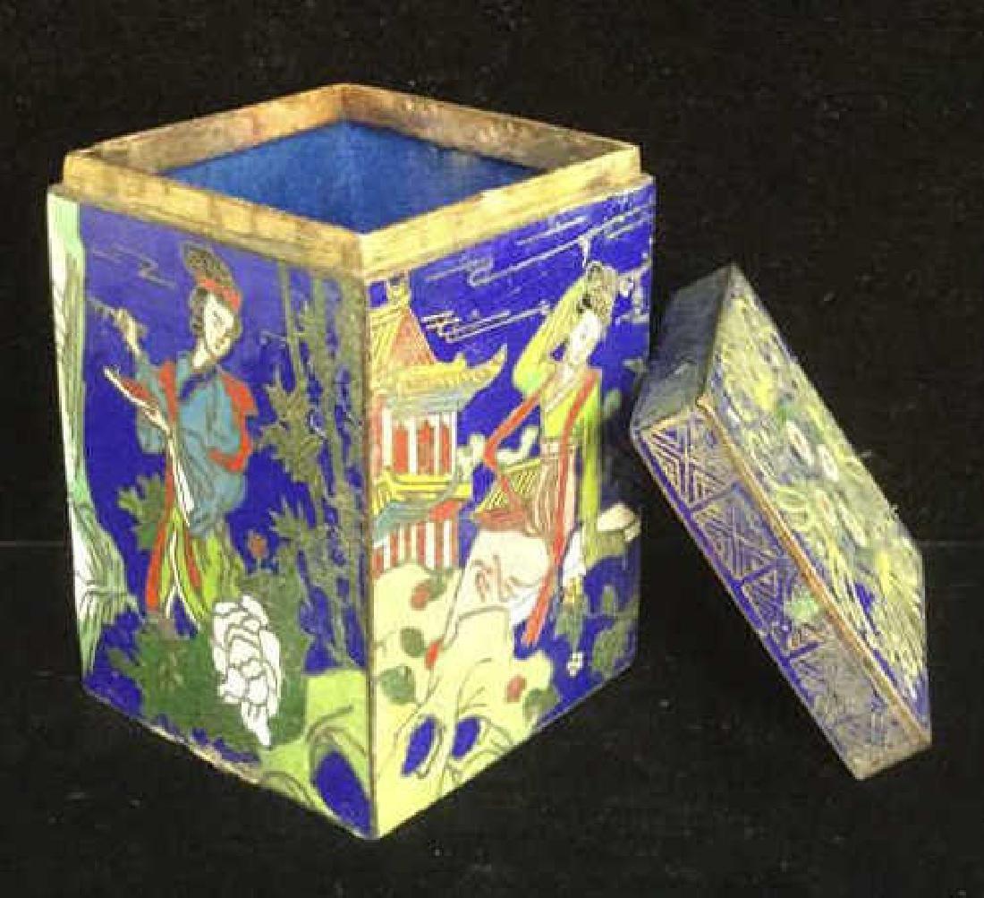 Vintage Asian Cloisonne Trinket Box With Lid - 6